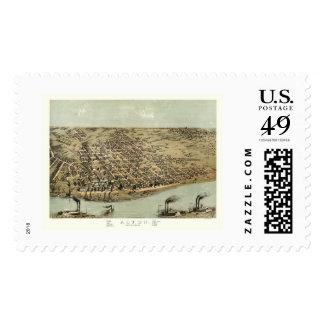 Alton, IL Panoramic Map - 1867 Postage