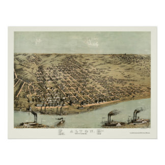 Alton, IL Panoramic Map - 1867 Poster