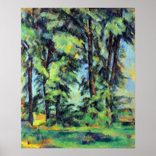 Altos árboles en el Jas de Bouffan de Paul Cezanne Poster