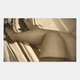 Altos de nylon del muslo en zapatos brillantes de pegatina rectangular
