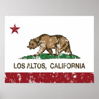 Altos del Los de la bandera del estado de Californ Póster
