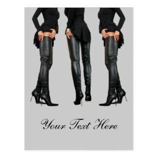 Altos modelos de la bota del muslo postales