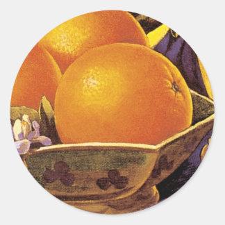 Altos naranjas de California de la bola Pegatina Redonda