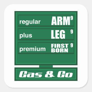 Altos precios de la gasolina pegatina cuadrada