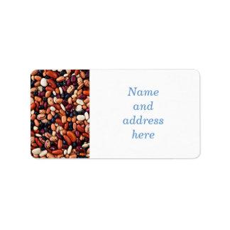 Alubias secas etiqueta de dirección