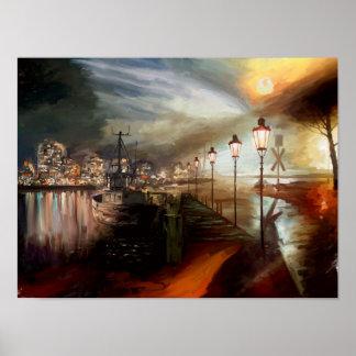 Alucinación de la lámpara de calle póster