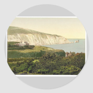 Alum Bay and the Needles, Isle of Wight, England r Classic Round Sticker