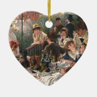Alumerzo del fiesta del canotaje adorno navideño de cerámica en forma de corazón