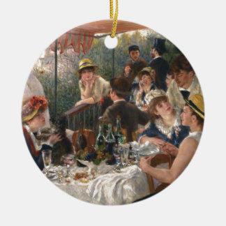 Alumerzo del fiesta del canotaje adorno navideño redondo de cerámica