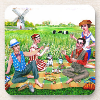 Alumerzo del verano en los años 20 Jamestown, RI Posavasos De Bebida