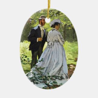 Alumerzo en la hierba Claude Monet Adorno Navideño Ovalado De Cerámica