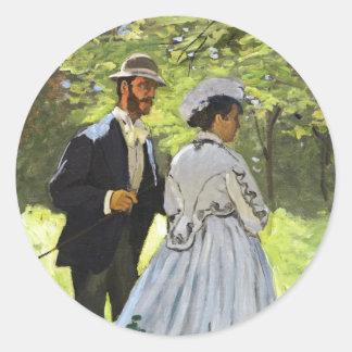Alumerzo en la hierba Claude Monet Pegatina Redonda