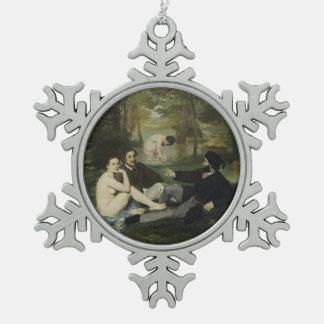 Alumerzo en la hierba de Eduardo Manet Adorno De Peltre En Forma De Copo De Nieve