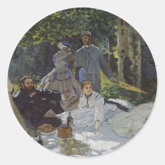 Alumerzo en la hierba, el panel central (1865) pegatina redonda