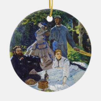 Alumerzo en la hierba, panel central Claude Monet Adorno Navideño Redondo De Cerámica