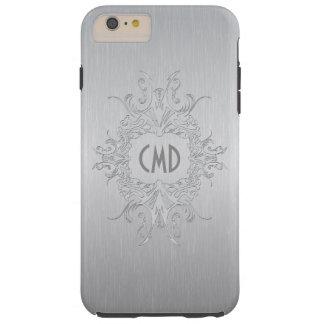 Aluminio cepillado diseño metálico de los gris funda para iPhone 6 plus tough