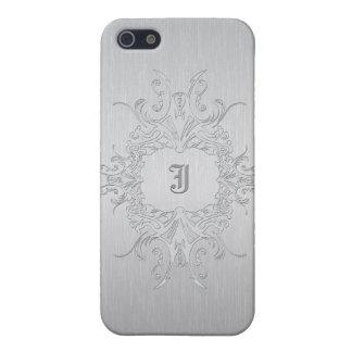 Aluminio cepillado diseño metálico de los gris iPhone 5 carcasas