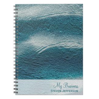 Aluminium grunge aqua blue white waves notebook