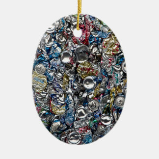 Aluminum Cans Being Recycled Ceramic Ornament