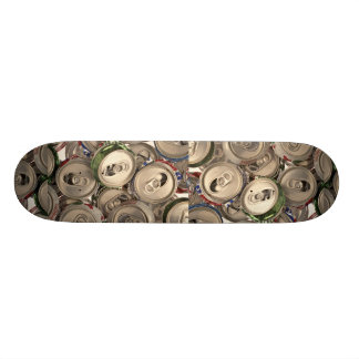 Aluminum cans, recycled skateboard deck