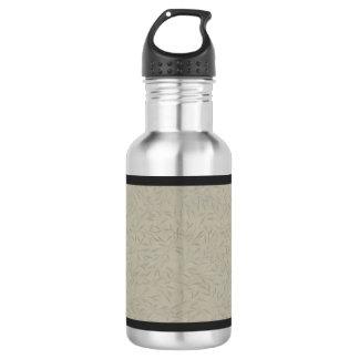 Aluminum Grey Embossed Leaf Vines Water Bottle