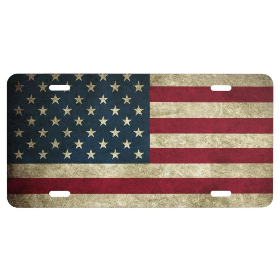 Aluminum License Plate/American Flag License Plate