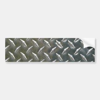 Aluminum Metal Checkerplate Bumper Sticker
