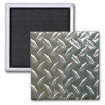 Aluminum Metal Checkerplate Fridge Magnet