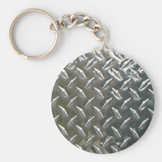 Aluminum Metal Checkerplate Keychain