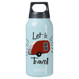 Aluminum with Retro Teardrop Camper Insulated Water Bottle
