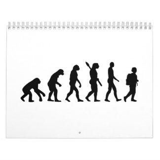 Alumno del estudiante de la evolución calendarios