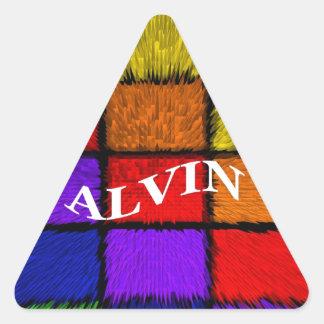 ALVIN (nombres masculinos) Pegatina Triangular