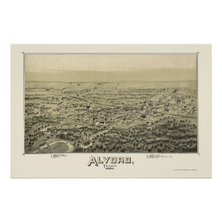 Alvord, TX Panoramic Map - 1890 Poster