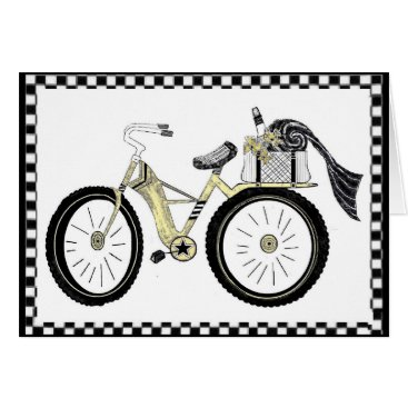 Beach Themed Always a Picnic Yellow Bicycle Card