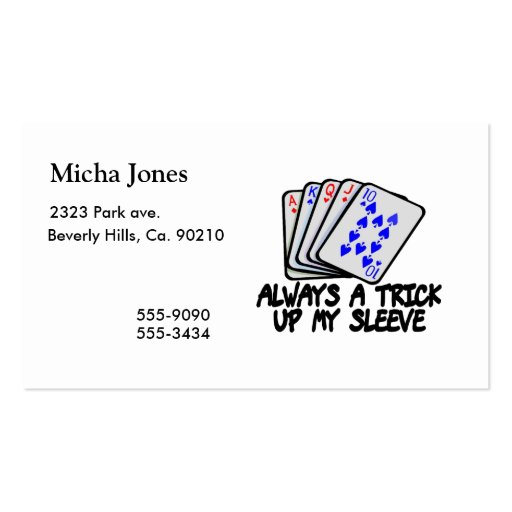 Always a trick up my sleeve business card zazzle for Business card tricks