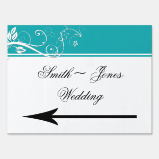 Always and Forever Aqua Wedding Direction Sign