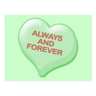 Always and Forever Candy Heart Postcard
