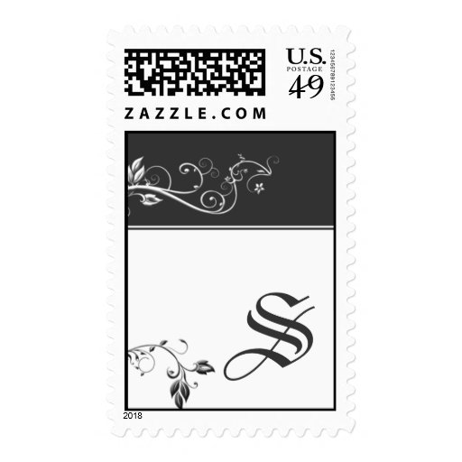 Always and Forever Charcoal Color Band Vine Scroll Postage Stamp