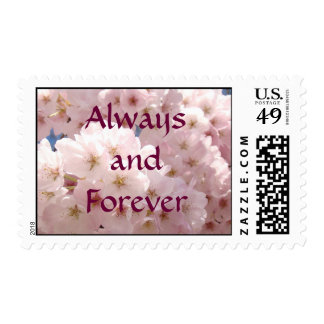 Always and Forever postage stamps pink Blossoms
