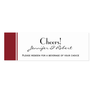 Always and Forever Ruby Wedding Drink Ticket Business Card Templates