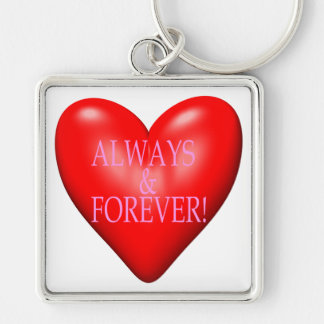 Always And Forever Silver-Colored Square Keychain
