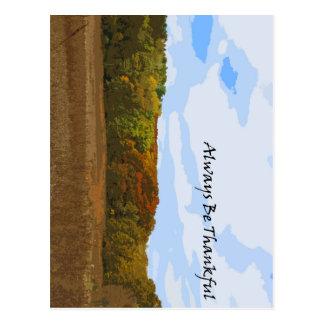 Always Be Thankful Motivational Autumn Landscape Postcard