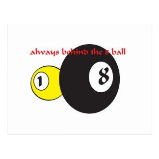 always behind the eight ball postcard