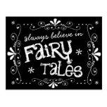 Always Believe in Fairy Tales Chalkboard Postcard