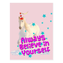 Always Believe Yourself Traffic Cone Unicorn Horse Postcard