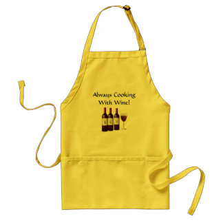 ALWAYS COOKING WITH WINE Bottle Glass Chef Adult Apron