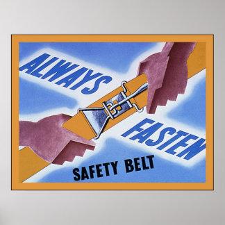 Always Fasten Safety Belt ~ Vintage WW2 Poster