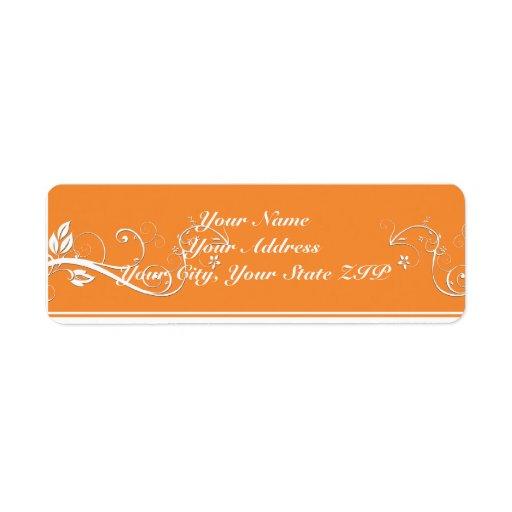 Always Forever Orange Vine Scroll Return Address Label