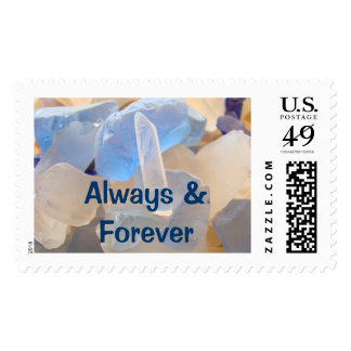 Always Forever postage stamps Blue Seaglass
