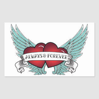 Always & Forever Rockabilly Winged Heart Rectangular Sticker